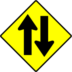 Traffic sign of Indonesia: Warning for a road with two-way traffic