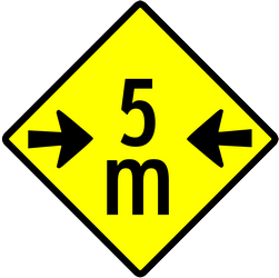 Traffic sign of Indonesia: Warning for a limited width