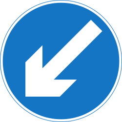 Traffic sign of India: Passing left mandatory