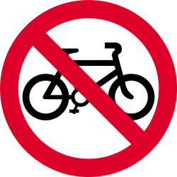 Traffic sign of India: Cyclists prohibited