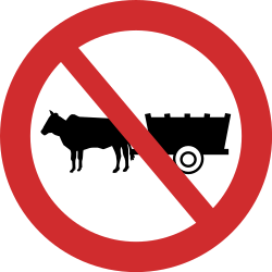 Traffic sign of India: Horsecarts prohibited
