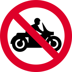 Traffic sign of India: Motorcycles prohibited