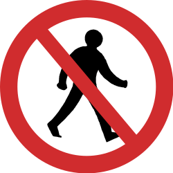 Traffic sign of India: Pedestrians prohibited