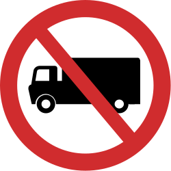 Traffic sign of India: Trucks prohibited