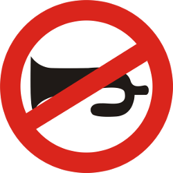 Traffic sign of India: Using the horn prohibited