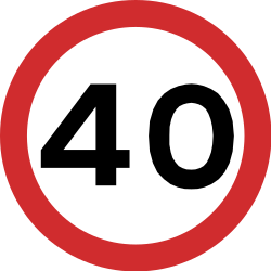 Traffic sign of India: Begin of a speed limit