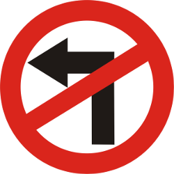Traffic sign of India: Turning left prohibited