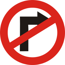 Traffic sign of India: Turning right prohibited