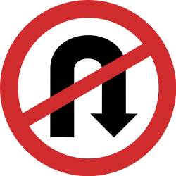 Traffic sign of India: Turning around prohibited (U-turn)