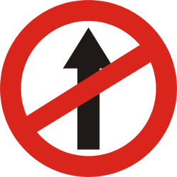 Traffic sign of India: Driving straight ahead prohibited