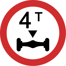 Traffic sign of India: Vehicles with an axle weight heavier than indicated prohibited