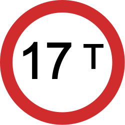 Traffic sign of India: Vehicles heavier than indicated prohibited