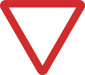 Traffic sign of India: Give way to all drivers