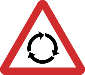 Traffic sign of India: Warning for a roundabout