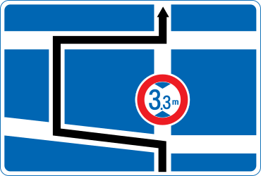 Traffic sign of Japan: Detour for vehicles that are not allowed to pass.