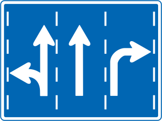 Traffic sign of Japan: Overview of the lanes and their direction