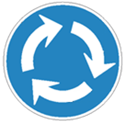 Traffic sign of Japan: Mandatory direction of the roundabout
