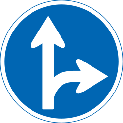 Traffic sign of Japan: Driving straight ahead or turning right mandatory