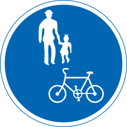 Traffic sign of Japan: Mandatory shared path for pedestrians and cyclists