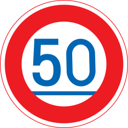 Traffic sign of Japan: Driving faster than indicated mandatory (minimum speed)
