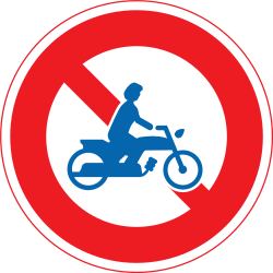 Traffic sign of Japan: Motorcycles prohibited