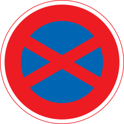 Traffic sign of Japan: Parking and stopping prohibited