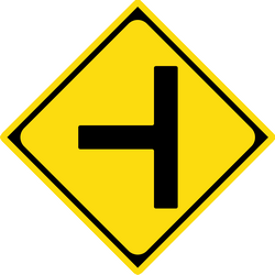 Traffic sign of Japan: Warning for an uncontrolled crossroad with a road from the left