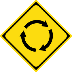 Traffic sign of Japan: Warning for a roundabout