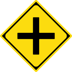 Traffic sign of Japan: Warning for an uncontrolled crossroad