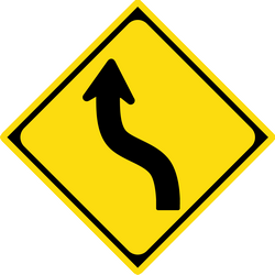 Traffic sign of Japan: Warning for a double curve, first left then right