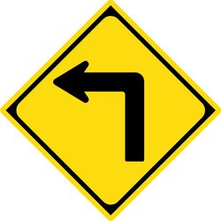 Traffic sign of Japan: Warning for a sharp curve to the left