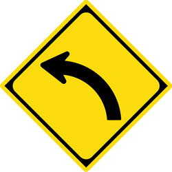Traffic sign of Japan: Warning for a curve to the left