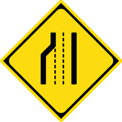 Traffic sign of Japan: Warning for a road narrowing on the left
