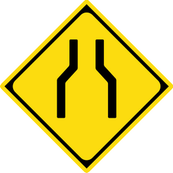 Traffic sign of Japan: Warning for a road narrowing