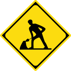 Traffic sign of Japan: Warning for roadworks
