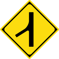 Panneau de signalisation de Japon: Warning for a side road merging with the main road