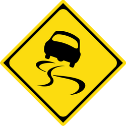 Traffic sign of Japan: Warning for a slippery road surface