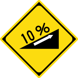 Traffic sign of Japan: Warning for a steep ascent