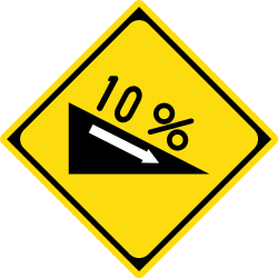 Traffic sign of Japan: Warning for a steep descent