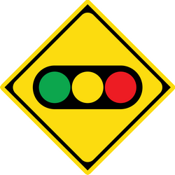 Traffic sign of Japan: Warning for a traffic light