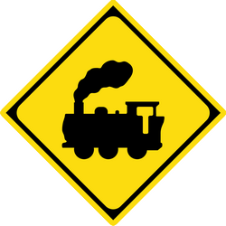 Traffic sign of Japan: Warning for a railroad crossing without barriers