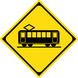 Traffic sign of Japan: Warning for trams