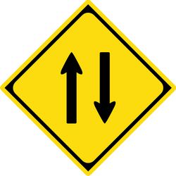 Traffic sign of Japan: Warning for a road with two-way traffic
