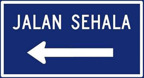 Traffic sign of Malaysia: Road with one-way traffic