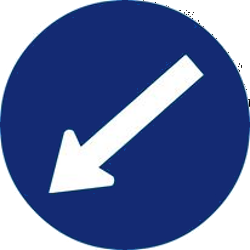 Traffic sign of Malaysia: Passing left mandatory