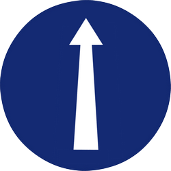 Traffic sign of Malaysia: Driving straight ahead mandatory
