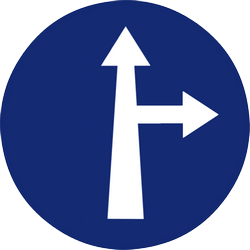 Traffic sign of Malaysia: Driving straight ahead or turning right mandatory