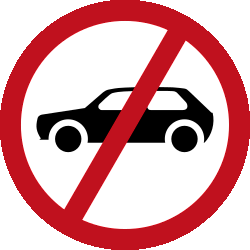 Traffic sign of Malaysia: Cars prohibited