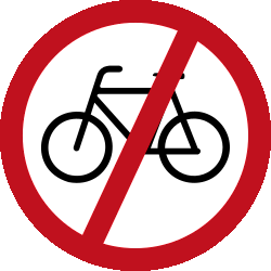 Traffic sign of Malaysia: Cyclists prohibited