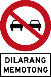 Traffic sign of Malaysia: Overtaking prohibited